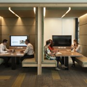 The new breed of agile worker needs the desk, furniture, interior design, office, table, brown