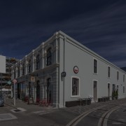 Heritage buildings on the site of the Christchurch architecture, building, car, city, cloud, commercial building, downtown, evening, facade, home, house, metropolis, metropolitan area, mixed use, real estate, residential area, road, sky, street, town, urban area, blue, black