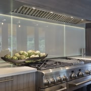 This glass splashback can be written on with countertop, interior design, kitchen, gray