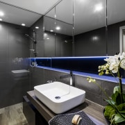 This reinvented main bathroom is finished in a architecture, bathroom, interior design, room, black, gray