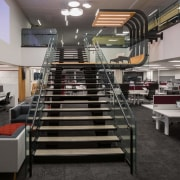 Tse designed the stair that link the two institution, interior design, black, gray
