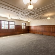 The Society Room, upstairs at the front of ceiling, estate, floor, flooring, function hall, interior design, lobby, gray, brown
