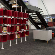 Integral to the modern fit-out by TSE for furniture, library, shelving, black
