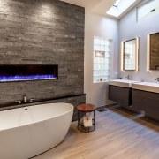 An existing skylight and section of glass bricks bathroom, floor, flooring, home, interior design, room, wood flooring, gray