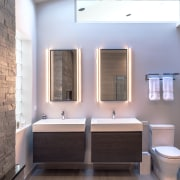 Twin mirrors and twin vanities provide double the bathroom, home, interior design, real estate, room, gray