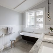 Traditional wainscot panelling is balanced with under-mounted basins architecture, bathroom, estate, floor, home, interior design, property, real estate, room, sink, window, gray