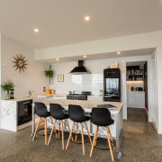 A family kitchen by designer Tracy Murphy is flooring, interior design, real estate, room, gray