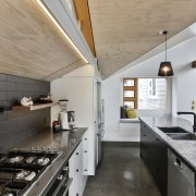 A stainless steel benchtop provides a low maintenance, countertop, interior design, kitchen, real estate, gray