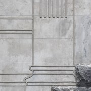 While appearing 3D, this reworked facade of the architecture, concrete, line, stone wall, structure, texture, wall, gray