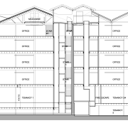 A cross section shows the amount of modern angle, area, diagram, drawing, elevation, floor plan, line, plan, structure, white