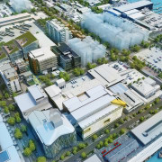 An overview of the Wynyard Quarter Innovation Precinct. bird's eye view, city, commercial building, condominium, metropolis, metropolitan area, mixed use, neighbourhood, real estate, residential area, suburb, urban area, urban design, white
