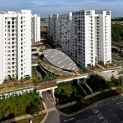 The Treelodge@Punggol eco precinct is Singapore's first Green apartment, bird's eye view, building, city, condominium, corporate headquarters, metropolis, metropolitan area, mixed use, neighbourhood, real estate, residential area, suburb, tower block, urban area, urban design, brown