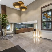 The original small lobby in the existing apartment estate, interior design, living room, lobby, real estate, gray