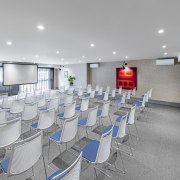 Conferencing facilities add to the guest options at architecture, conference hall, interior design, office, product design, table, gray