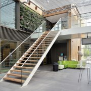 The Flex Fit system allows for easy lateral architecture, daylighting, handrail, stairs, gray, white