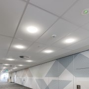Armstrong Ultima ceiling tiles contributed to the acoustic architecture, ceiling, daylighting, daytime, light, lighting, line, wall, gray