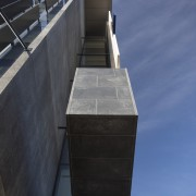 Basalt tiles complete the look of the Datacom architecture, building, daylighting, daytime, facade, roof, sky, black, blue