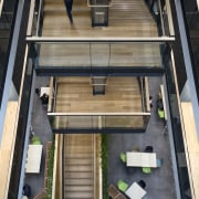 The central stairs and landings at the new architecture, building, daylighting, furniture, house, wood, black