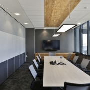 A meeting room in the new Datacom building architecture, ceiling, conference hall, interior design, office, gray