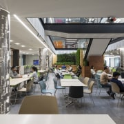 The soaring light-filled atrium of the Datacom building interior design, restaurant, gray
