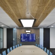 Wood is used prominently on the Datacom fit-out architecture, ceiling, daylighting, interior design, gray, brown