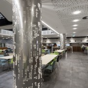 Designed by Gaze Commercial, internally lit pillars add architecture, ceiling, design, glass, interior design, structure, gray