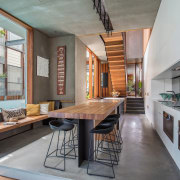 The ground floor circulation path in this home architecture, house, interior design, living room, loft, real estate, gray