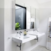 In keeping with the approach in the rest bathroom, bathroom accessory, bathroom cabinet, interior design, product design, room, sink, tap, white