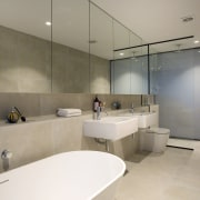 See the bathroom here architecture, bathroom, floor, interior design, property, real estate, sink, gray