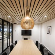 A meeting room with timber batten ceiling and architecture, ceiling, daylighting, interior design, real estate, gray