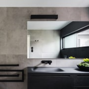 A black vanity and black accessories avoid this architecture, countertop, floor, interior design, kitchen, product design, sink, wall, gray, black