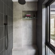Step right up  a chunky seat set architecture, bathroom, floor, interior design, room, tile, gray, black