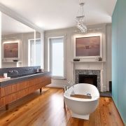 This bathroom occupies what was once a study bathroom, countertop, floor, hardwood, interior design, kitchen, living room, real estate, room, sink, wood flooring, white, gray