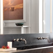 The top of this double vanity is in bathroom, countertop, floor, flooring, interior design, room, sink, tap, wall, white
