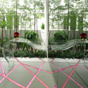 Upon reflection  this powder room includes LED-lit architecture, floor, flooring, home, house, interior design, outdoor structure, plant, table, tree, window, gray