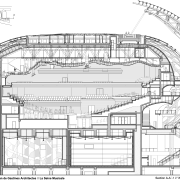 A cross section of the Auditorium at La arch, architecture, area, artwork, black and white, drawing, engineering, floor plan, line, line art, plan, product design, residential area, structure, technical drawing, white