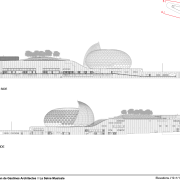 Architect Shigeru Ban designed the Le Seine Musicale architecture, area, black and white, design, diagram, elevation, font, line, monochrome, monochrome photography, product design, structure, text, white