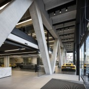 The Giltrap Group building is braced at the architecture, building, daylighting, interior design, lobby, structure, gray, black
