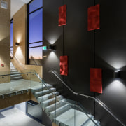 A feature wall in the entry foyer in architecture, ceiling, daylighting, glass, interior design, lighting, lobby, black, gray