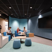Dynamic spaces with textured walls, colour, and no auditorium, interior design, product design, black