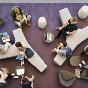 Break out areas and informal learning spaces predominate product design, shoe, purple