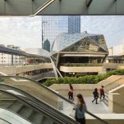 Architect Stephen Pimbley describes the central space at architecture, building, city, metropolis, metropolitan area, mixed use, shopping mall, urban area, white