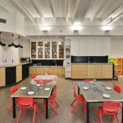 Adding to the homely atmosphere at the Cosmokids interior design, kitchen, room, table, gray