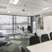 The external louvre mesh covering much of the interior design, office, real estate, white, gray