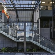 External walkways minimise use of interior energy sources apartment, architecture, building, condominium, corporate headquarters, daylighting, facade, headquarters, metropolitan area, mixed use, residential area, structure, black, gray