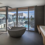 Soaking in the views  this master bathrooms architecture, estate, house, interior design, real estate, window, gray, black