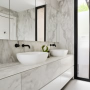 Because these large format, wall tiles are only architecture, bathroom, countertop, floor, home, interior design, product design, room, sink, tap, tile, gray