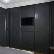 Open sesame  dark grey wall panelling disguises ceiling, door, furniture, interior design, wall, wardrobe, black