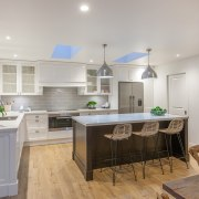 New skylights contribute to the light, airy feel countertop, cuisine classique, interior design, kitchen, real estate, room, gray