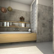 Ceramin Vario tiles were glued straight over existing floor, flooring, furniture, interior design, tile, wall, gray
